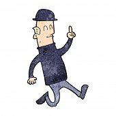 stock photo of bowler hat  - cartoon man wearing british bowler hat - JPG