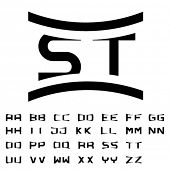 picture of initials  - vector black simple alphabet initials  - JPG