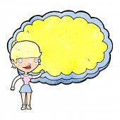 picture of presenting  - cartoon woman presenting cloud with space for text - JPG