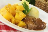 pic of turnips  - Venison goulash with turnips and cooked potatoes - JPG
