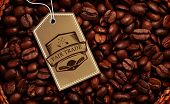 picture of extreme close-up  - Fair Trade graphic against close up of a basket full of dark coffee beans - JPG