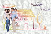 picture of piggyback ride  - Side view of parents giving piggyback ride to children against crumpled white page - JPG