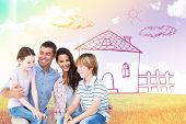 stock photo of lap  - Children sitting on parents laps over white background against blue sky over green field - JPG