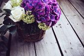 stock photo of gift basket  - Big bouquet of fresh flowers - JPG