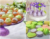 picture of cake pop  - Delicious sweet buffet with profitrole macarons and cake - JPG