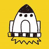 stock photo of spaceships  - Spaceship Doodle Drawing - JPG