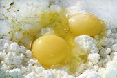picture of cheesecake  - Make cheesecake batter with eggs - JPG