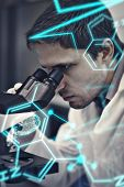 stock photo of scientific research  - Science and medical graphic against scientific researcher using microscope in the laboratory - JPG