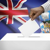 picture of falklands  - Ballot box with flag on background  - JPG
