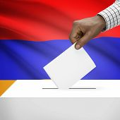 foto of armenia  - Ballot box with flag on background  - JPG
