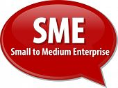 stock photo of enterprise  - word speech bubble illustration of business acronym term SME small medium sized enterprise vector - JPG