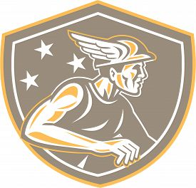 foto of godly  - Illustration of Roman god Mercury patron god of financial gain commerce communication and travelers wearing winged hat looking to side set inside shield crest with stars in the background done in retro style - JPG