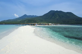 image of camiguin  - white beach overlooked by volcanoes on camiguin island near mindanao in the philippines - JPG
