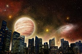 image of outer  - skyline of a futuristic city in outer space - JPG