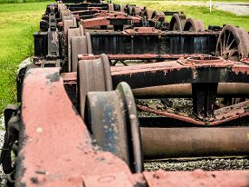 picture of train-wheel  - row of old - JPG