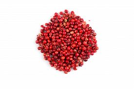 picture of peppercorns  - red peppercorns seeds isolated on white background - JPG