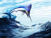 image of sailfish  - A beautiful blue marlin bursts through a wave in a spectacular jump - JPG