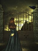 picture of gatekeeper  - A woman standing with a key to the gate looking up the the crow - JPG