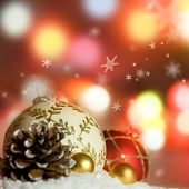 stock photo of christmas cards  - Christmas Background with festive christmas baubles - JPG