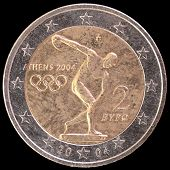 Постер, плакат: Commemorative Two Euro Coin Issued By Greece In 2004 And Celebrating The Olympic Games In Athens
