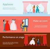 Постер, плакат: Theater performance flat banners set