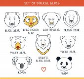 Постер, плакат: Set 9 muzzles bears handmade in linear style Bear faces