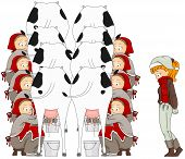 stock photo of milkmaid  - Illustration of a Woman Watching Eight Maids A Milking  - JPG