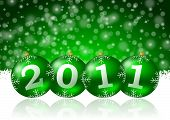 image of christmas cards  - 2011 new year illustration with christmas balls - JPG