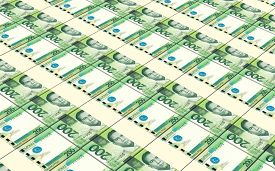 foto of pesos  - Philippines peso bills stacks background - JPG