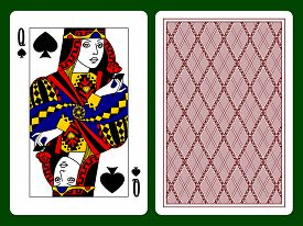foto of spade  - Queen of Spades playing card and the backside background - JPG