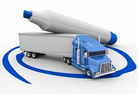 pic of semi-circle  - Blue trailer truck circled with a pen or marker to choose the best option or opportunity for transportation or logistics - JPG