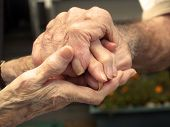 image of old couple  - Old couple holding their hands with love
