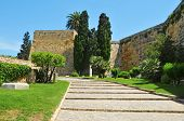A view of Archaeological Walk, with monumental roman walls, in Tarragona, Spain