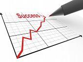Постер, плакат: Ручка с графиком Стратегия успеха