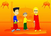 stock photo of fitri  - joy of a family in welcoming the Idul Fitri holidays - JPG