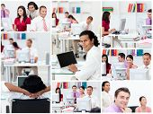 stock photo of blinders  - Collage of business people working in partnership - JPG