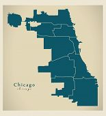 Modern City Map - Chicago City Of The Usa With Boroughs poster