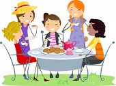image of tea party  - Illustration of Ladies Having a Tea Party - JPG