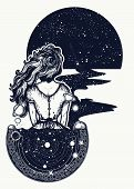 Magic Woman Tattoo And T-shirt Design. Woman In Space Tattoo Art. Surreal Girl Sinks In Universe. Sy poster