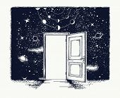 Open Door Tattoo. Symbol Of Imagination, Creative Idea, Motivation, New Life. Open Door In Universe poster