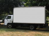 stock photo of delivery-truck  - a delivery truck with a blank side - JPG