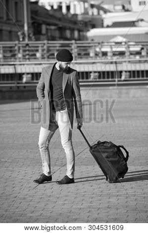 poster of Adjust Living In New City. Traveler With Suitcase Arrive Airport Railway Station Urban Background. H