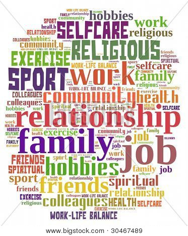 work life balance in colorful word collage poster id 30467489