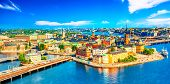 Beautiful Aerial View Of Stockholm Old Town Gamla Stan From The City Hall Stadshuset. Beautiful Summ poster