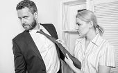 Office And Sexual Behavior. Woman Hold Mans Necktie. Girl Seduce Colleague. Sexual Harassment At Wor poster