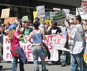 Youth sing and protest at anti-war march in Manhattan, 4/29/06