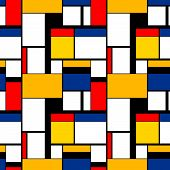 Colorful Painting In Piet Mondrians Style, Modern Seamless Pattern poster