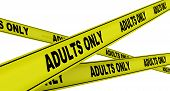 Adults Only. Yellow Warning Tapes With Black Text Adults Only. Isolated. 3d Illustration poster
