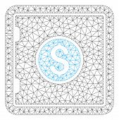 Mesh Banking Safe Model Icon. Wire Carcass Polygonal Mesh Of Vector Banking Safe Isolated On A White poster
