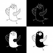 Cute Cartoon Hand Drawn Summer Bird Symbol Set Of Funny Birds. Sweet Vector Black And White Summer B poster